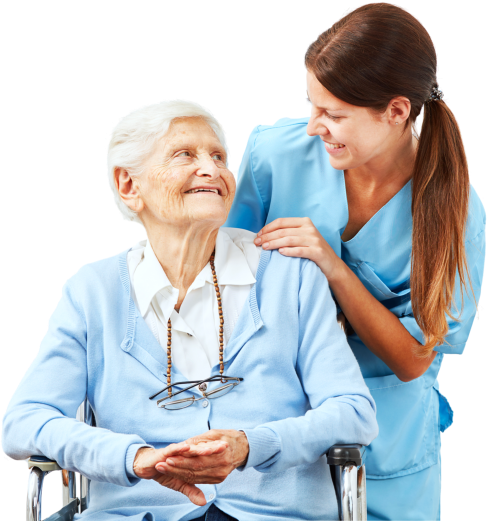 elderly woman and a caregiver smiling at each other